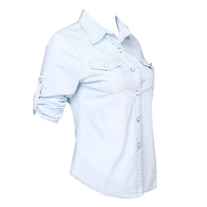 Moda Nueva Manga Casual Denim Larga Bolsillos Jean 2018 Caliente Blusa Verano Azul Niñas Suave azul Botón Mujeres Cielo Camisa De Tops Sólido Azul q74In8tEn