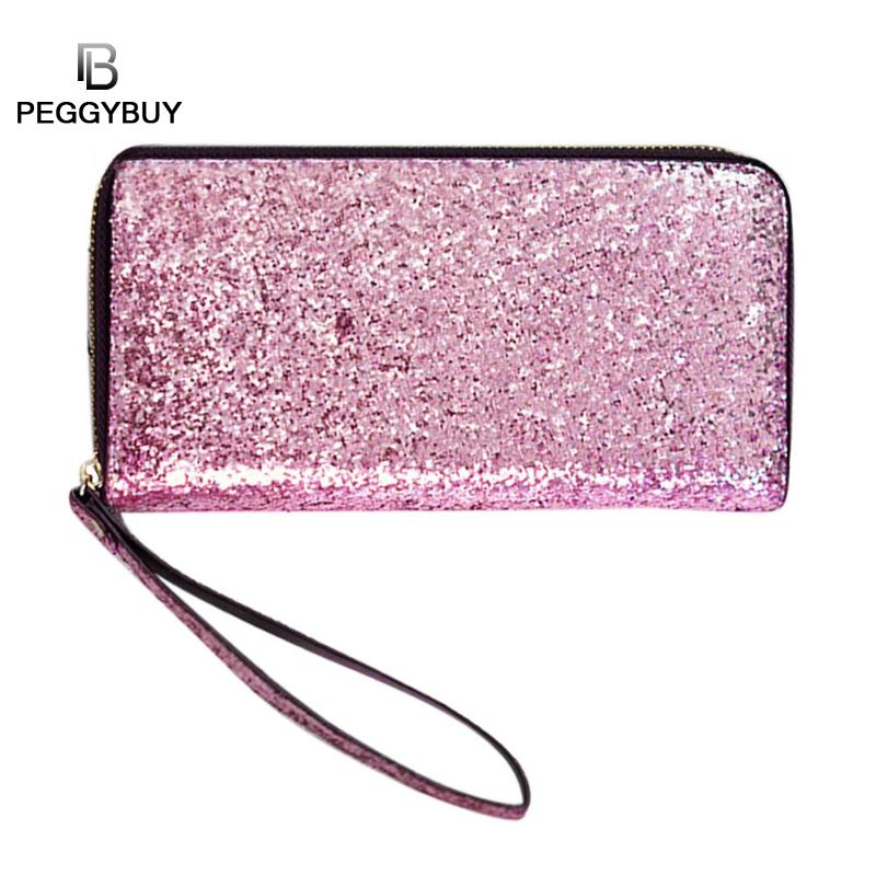 Women Wallet Glitter Sequin Lady Party Card Holder Elegant Long Clutch Zipper Purse Solid Multi-card bit Credit Card Bags 2018