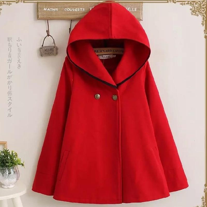 UHYTGF осень зима Короткое шерстяное пальто для женщин плюс размер плащ с капюшоном шерстяное пальто мода Свободный рукав летучая мышь шерстяная Верхняя одежда 684 - Цвет: red