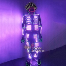 LED Clothing Luminous Light Hot Suits Robot Helmet Glowing EL Costumes Men Clothes With Ballroom Mechanical Dance Accessories
