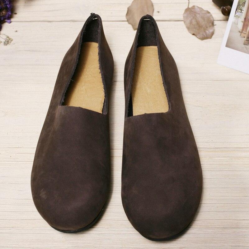 El manual de algodón zapatos perezosos retro albaricoque - Zapatos de mujer