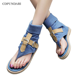 CDPUNDARI Ladies Denim Flat sandals for women Platform Sandals summer shoes woman Gladiator Sandals  sandalias mujer  2019 1
