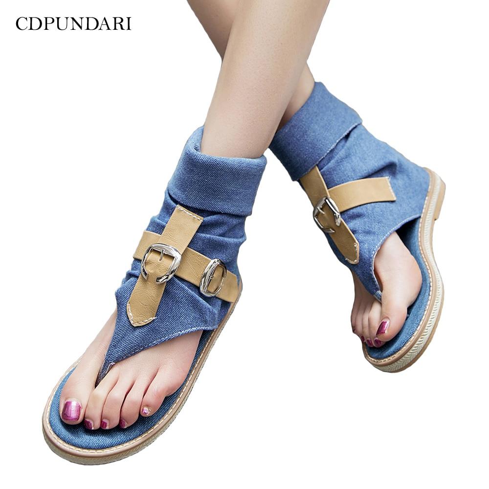Denim Casual Flat Sandals For Women