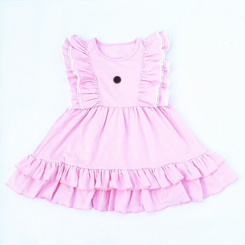8fcccd544 2018 Latest princess sweet baby girl party dress children frocks designs  solid flutter sleeve kids clothes. QQ20180120123742 QQ20180120123747