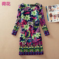 New casual 2017 spring vestidos clothing ladies cotton maxi winter dress party vestido de festa print elegant plus size dresses