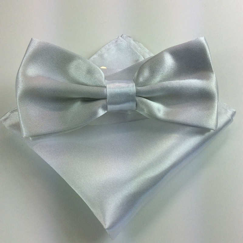 New Men Bowtie Pocket Set Adjustable Plain Wedding Bow Tie For Party solid color Neckties butterflies FR186710
