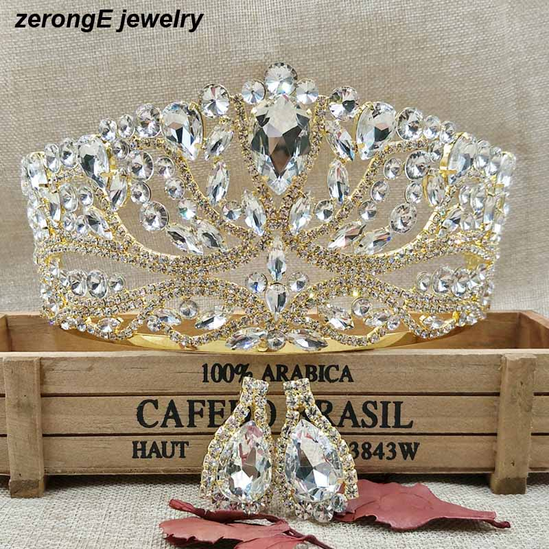 Luxury-Large-Wedding-Pageant-gold-Tiara-crown-with-earring-matching-Crystal-Bridal-pageant-Crowand-tiaras