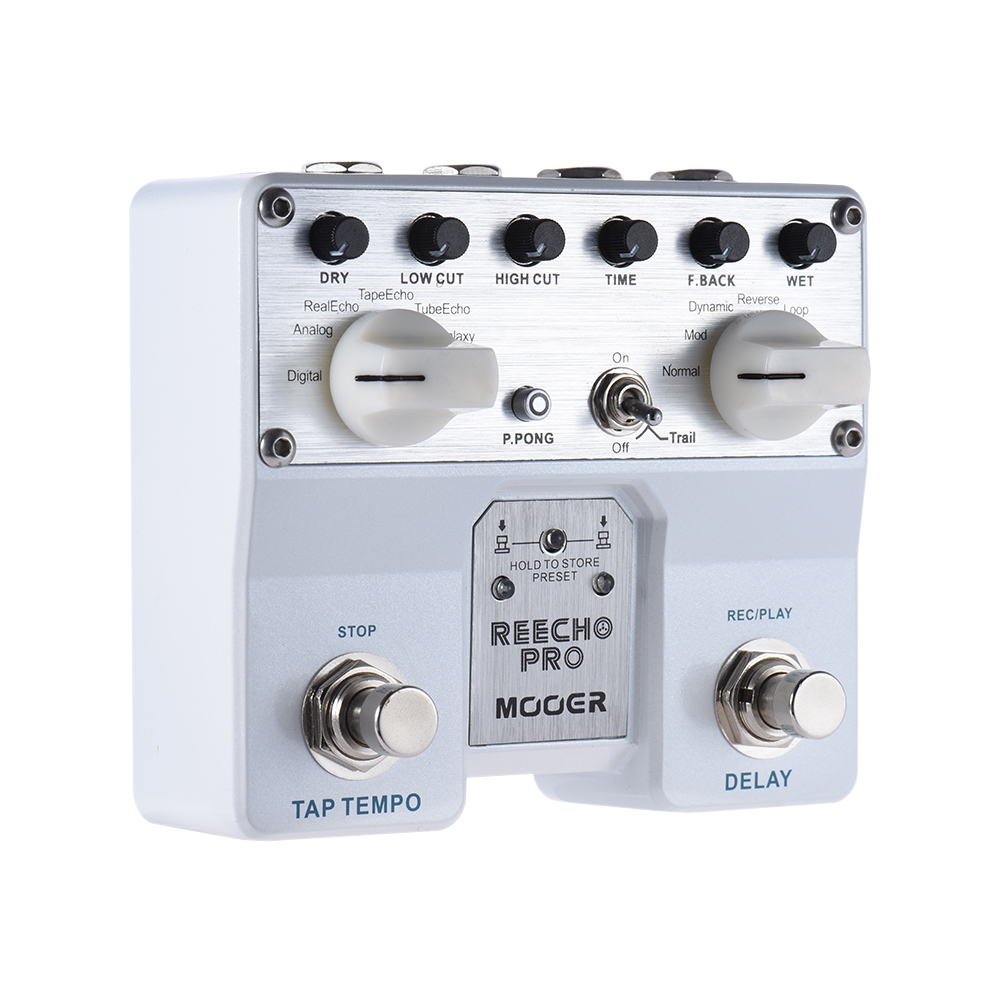 Mooer Reecho Pro Digital Delay Guitar Effect Pedal Loop Recording & Tone Saving With 6 Delayed 3 Additional Effects free shipping phrase loop core loop pedal block effect drum machine circular pedal