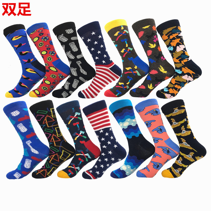 Men's Socks Harajuku Colorful Happy Warm Socks Christmas Gifts Cotton Socks New Cartoon Socks Men and Women Couple Socks