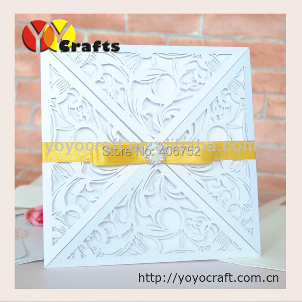 inc38 four fold white ivory wedding invitation card gold bow and buckle extra cost wedding invitation