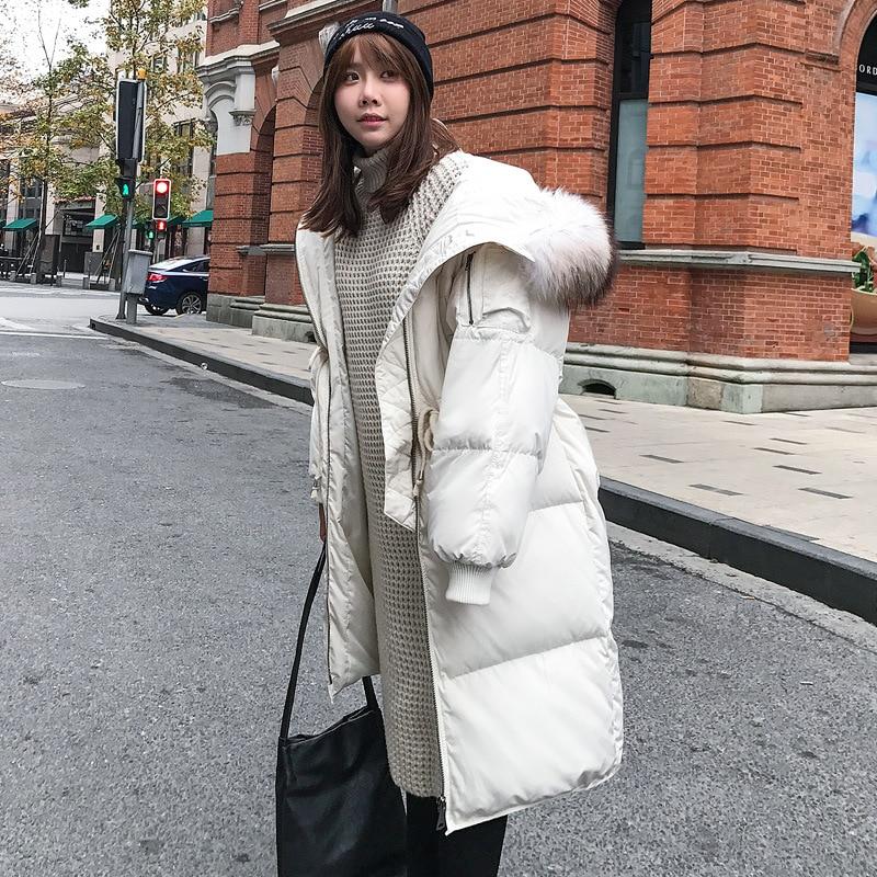 Winter Jacket Female Parka Coat Feminina Long Down Jacket Fur Collar Long Hooded Duck Down Coat Jacket Women Women Down Jacket