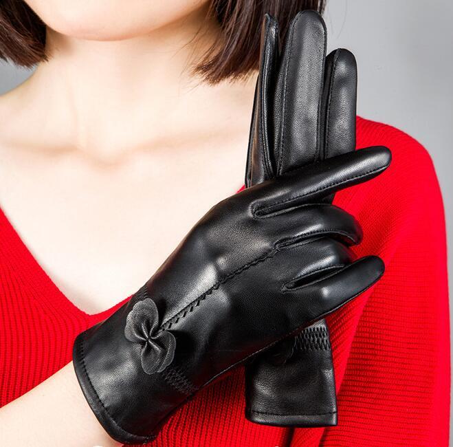 Women's Winter Genuine Leather Gloves Lady's Thicken Warm Fleece Lining Natural Leather Glove Winter Driving Glove R297