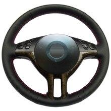 Negro de Cuero cosido A Mano Cubierta Del Volante Del Coche para BMW E39 X5 E53 E46 325i