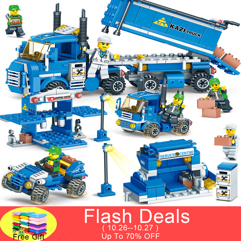 NEW 318pcs 4 IN 1 URBAN FREIGHT Building Blocks LegoINGlys City Truck Blocks Toy Bricks Educational Building Toys for Children 196pcs building blocks urban engineering team excavator modeling design