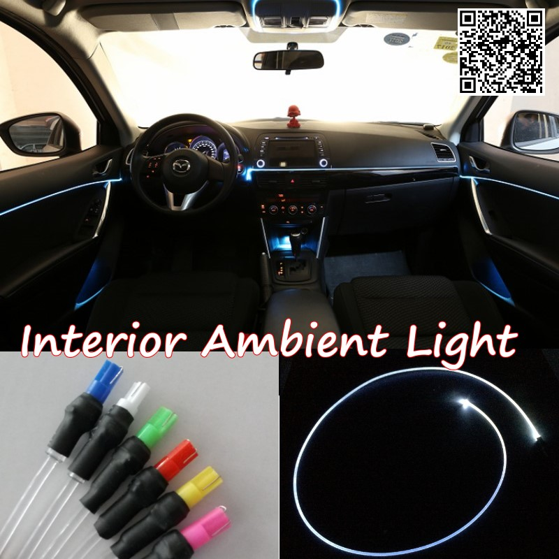For hyundai Tucson 2004-2015 Car Interior Ambient Light Panel illumination For Car Inside Cool Strip Light Optic Fiber Band 4pcs set smoke sun rain visor vent window deflector shield guard shade for hyundai tucson 2016