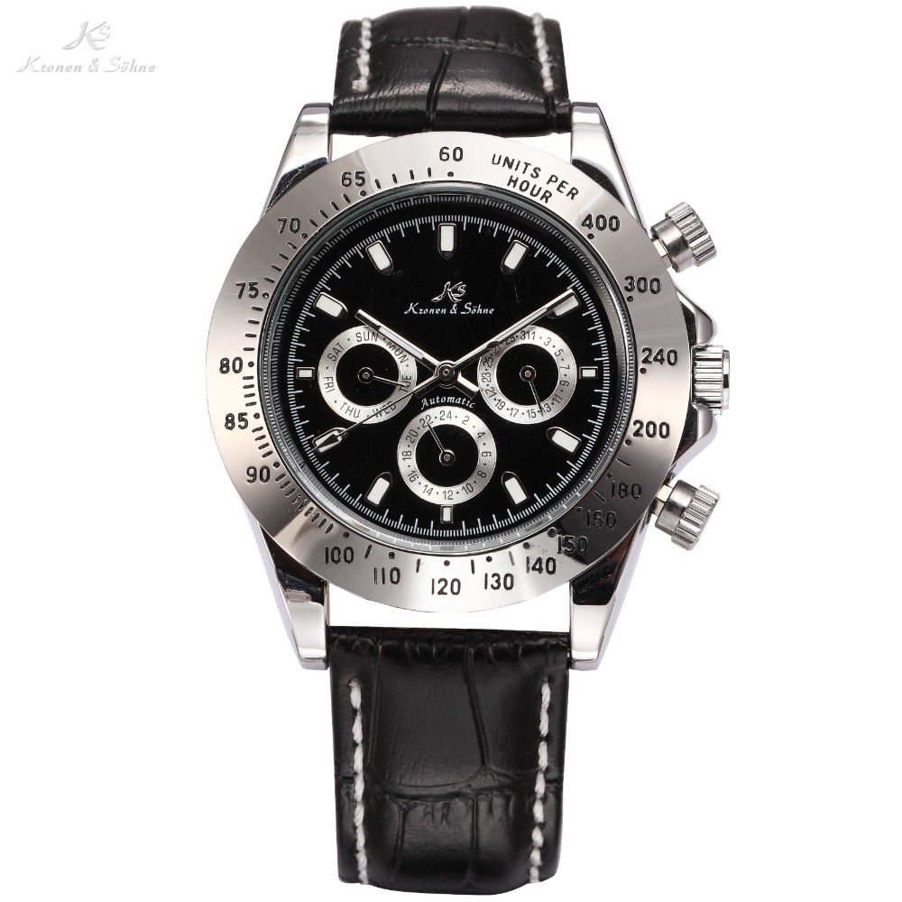 Ks Imperial Calendar Day Date Display Male Clock Relojes Black Leather Full Steel Automatic Self Winding Mechanical Watch /KS165 wilon all steel self winding mechanical wristwatch black silver