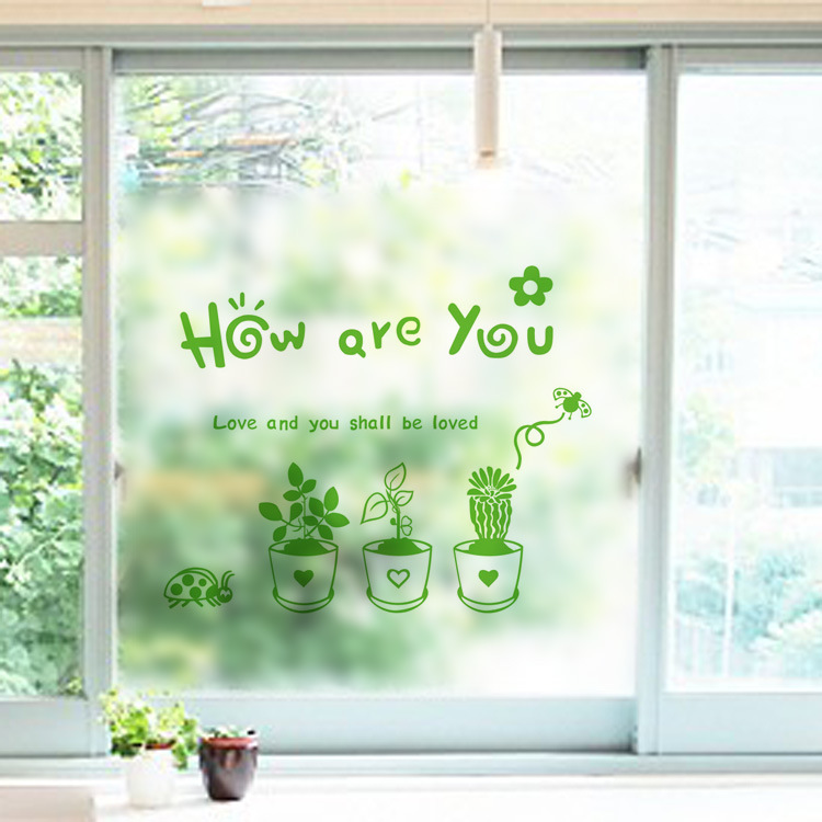 cactus plant fresh pots glass sticker how are you quote wall sticker balcony frosted glass sliding