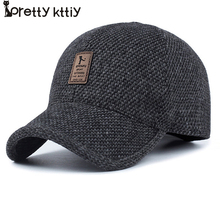 PRETTY KITTY 2017 Warm Winter spring Thickened Baseball Cap With Ears Men'S Cotton Hat Snapback Hats Ear Flaps For Men Hat