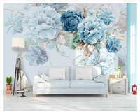 Beibehang Nordic personalizzato fresco dipinto a mano papel de parede carta da parati fiori di Peonia giardino soggiorno TV sfondo 3d carta da parati