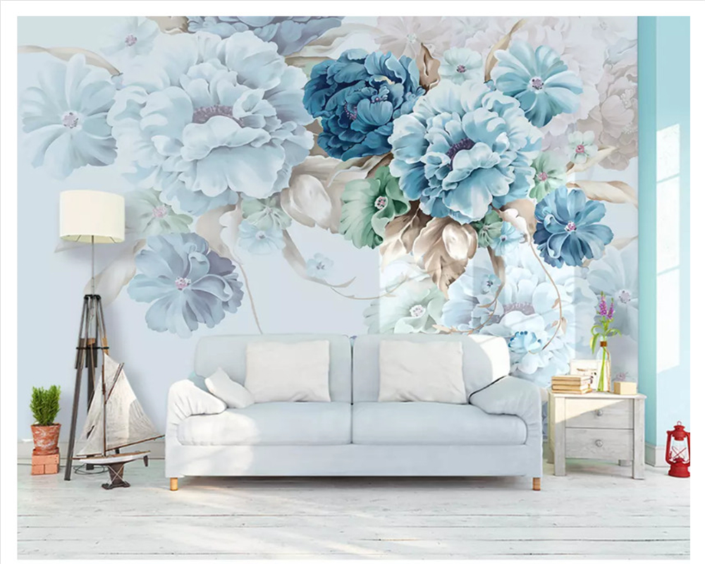 Beibehang Nordic Custom Fresh Hand-painted Papel De Parede Wall Paper Peony Flowers Garden Living Room TV Backdrop 3d Wallpaper