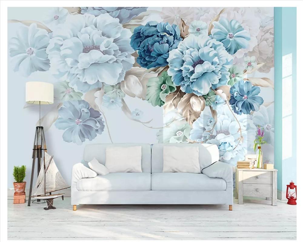 beibehang Nordic custom fresh hand-painted papel de parede wall paper Peony flowers garden living room TV backdrop 3d wallpaper