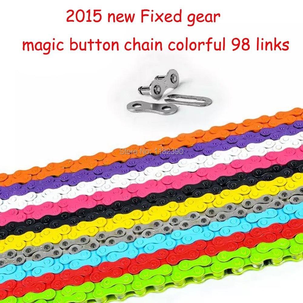 2015 nové Pevné ozubené kolo kolo řetěz jízdní kolo jednorázové řetězce kouzlo tlačítko řetězec barevné 98 odkazy CZC004