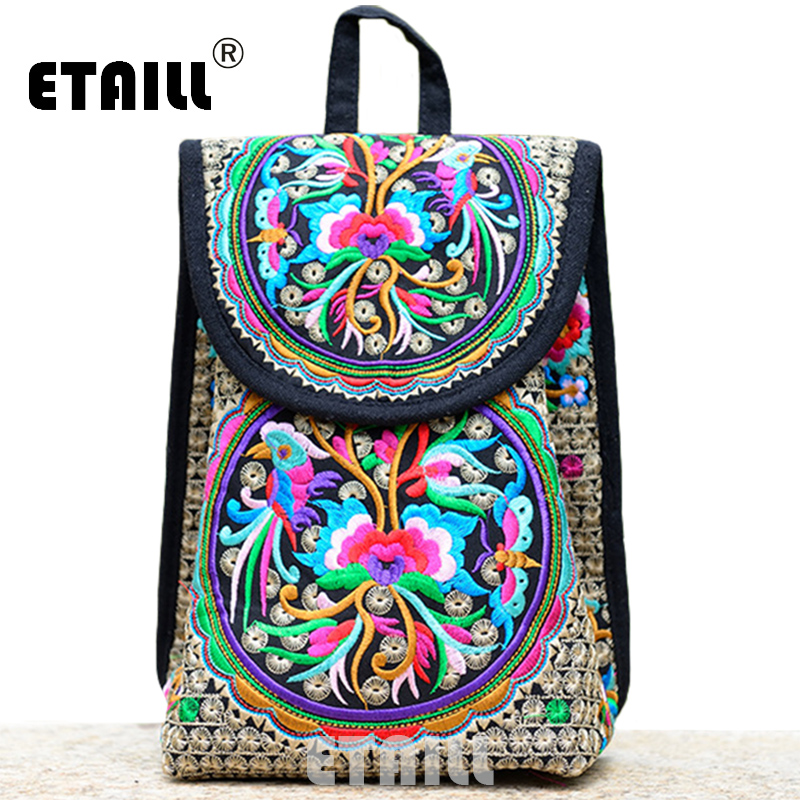 fb8f2a7055e9 Floral Embroidered Canvas Backpack National Trend Embroidery Ethnic Rucksack  Drawstring Schoolbag Mochilas Escolares Femininas