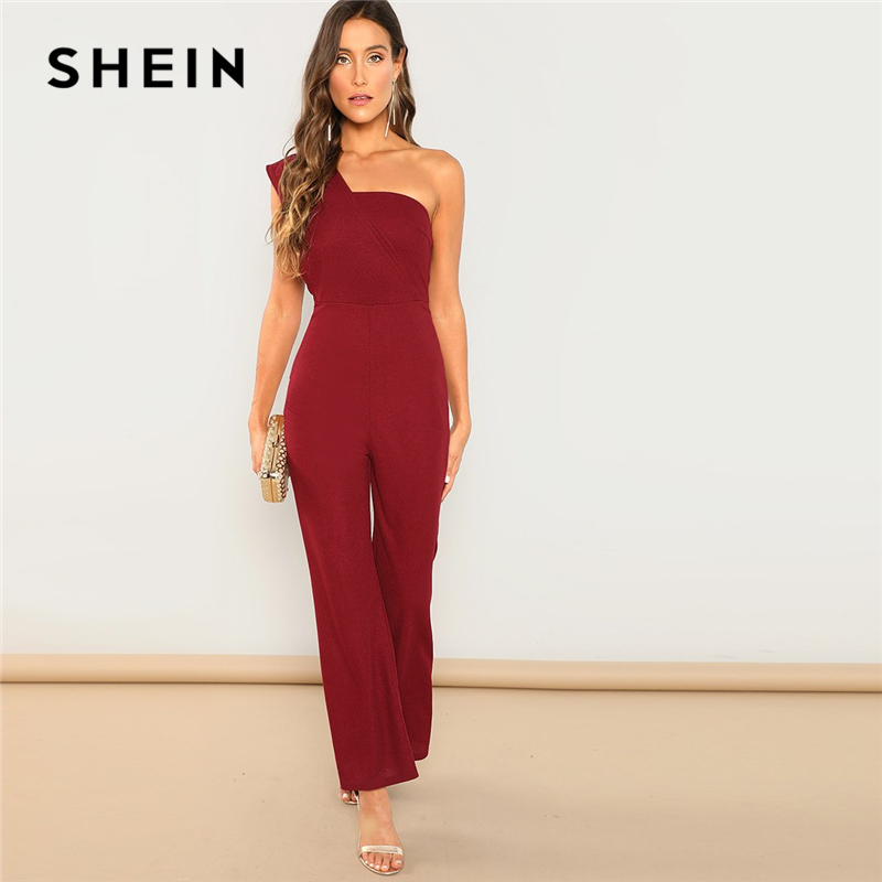 SHEIN Burgundy Modern Lady One Shoulder Sleeveless Flared Mid Waist Skinny Maxi   Jumpsuit   Summer Highstreet Women   Jumpsuits