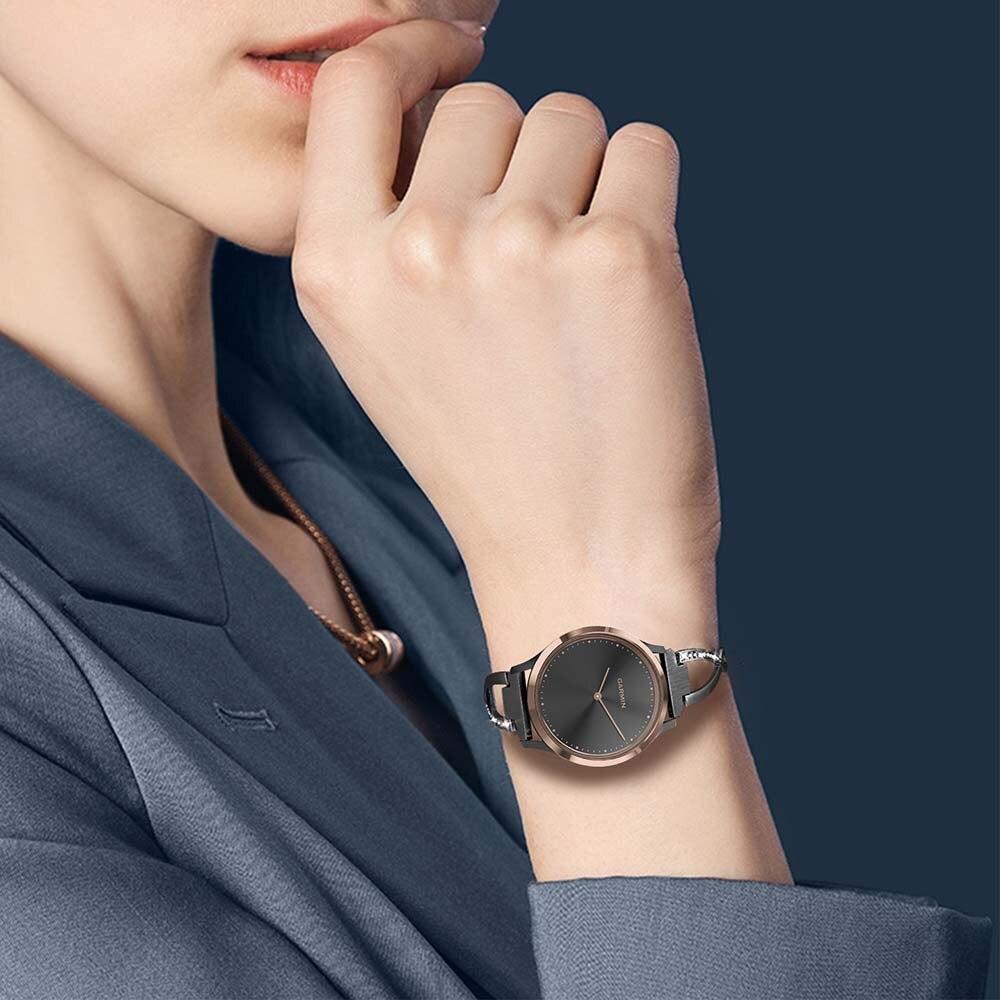 Image 5 - Stainless Steel + Diamond Watchband for Garmin Vivomove / Vivomove HR Sport Premium Watch Band Women Strap Wrist Belt Bracelet-in Watchbands from Watches