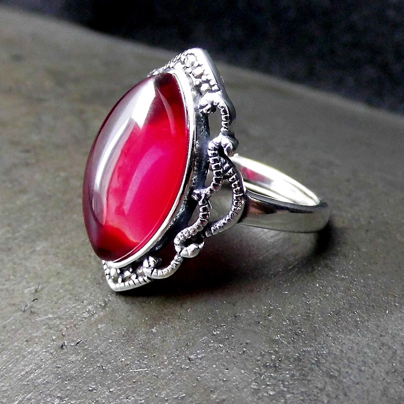 925 sterling silver jewelry Thai vermillion corundum yellow stone ring opening new atmosphere ring