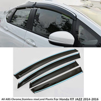 High quality Car cover Stick styling plastic Window glass Wind Visor Rain/Sun Guard Vent 4pcs For Honda FIT JAZZ 2014 2015 2016