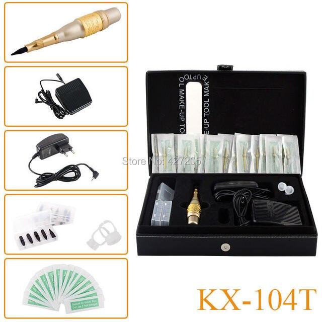 Новый Стиль KX-104T Перманентный Макияж Бровей Татуировка Мозаика Машина Комплект Косметическая Ручка Педаль Иглы Советы Питания Бесплатная Доставка