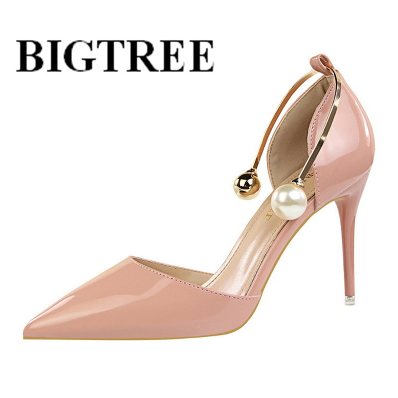 BIGTREE Summer Shoes Women Pumps Pointed Toe High Heels Single Shoes Women Luxury Elegant Party Sandals Red Wedding shoes 923-13