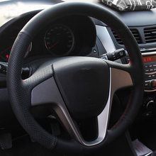 hot deal buy high quality cowhide top layer leather handmade sewing steering wheel covers protect for hyundai solaris/verna/i20/accent