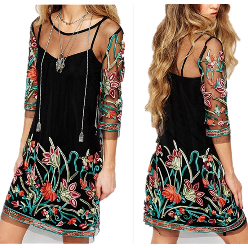 Large Size Women Beach Wear Summer Bathrobe Coverups For Bathing Suit Covers 2018 New Autumn Popular Black Embroidery Dress