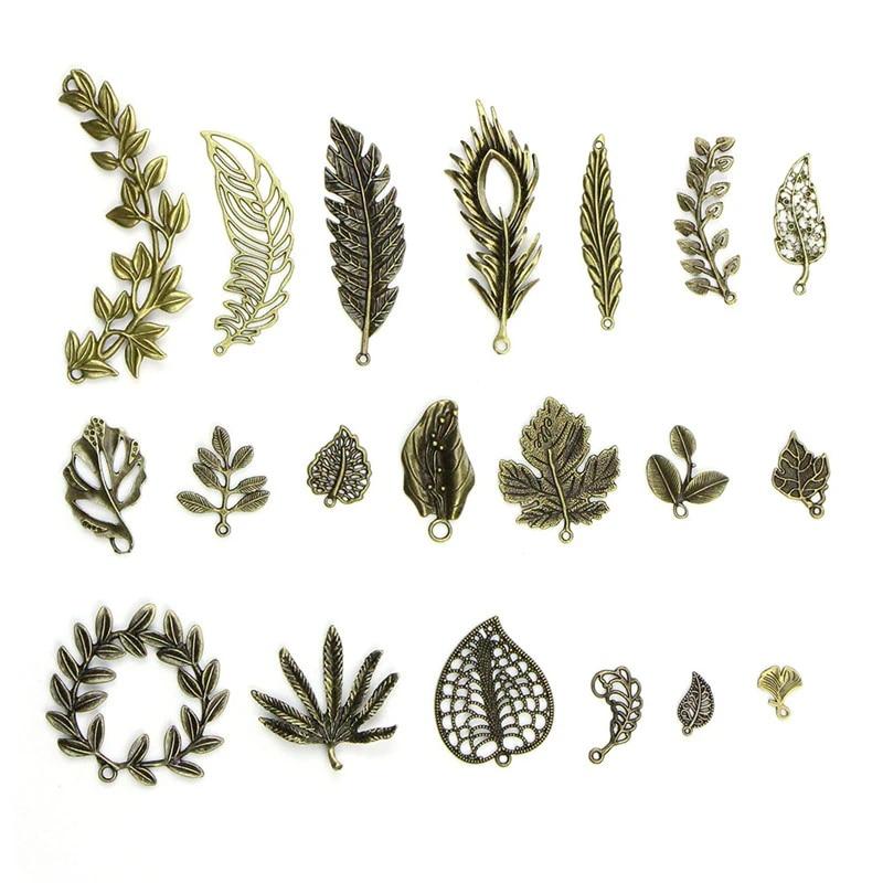 Antiqued Bronze Tone Alloy Leaf Shape Charms Pendant Jewelry Crafts 51652 18pcs