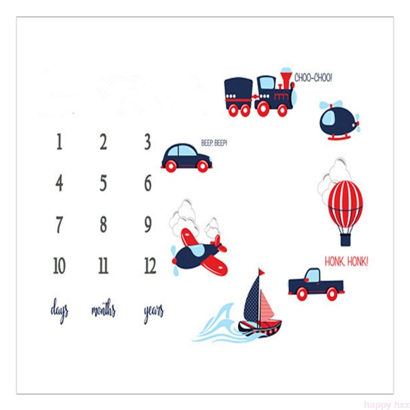 Newborn Baby Milestone Number Car Pattern Mat Blanket Photography Background Backdrop Cloth