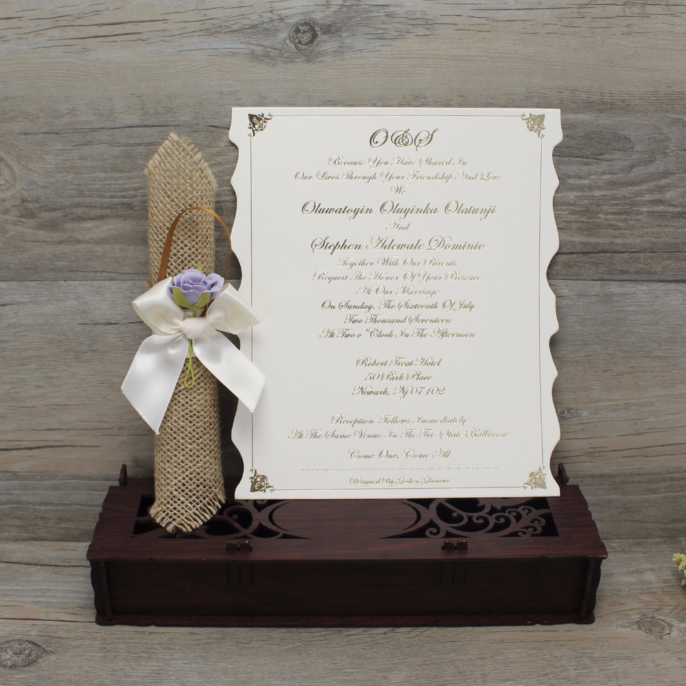 100 Pcs Laser Cut Wedding Invitation Card Elegant Custom Scroll