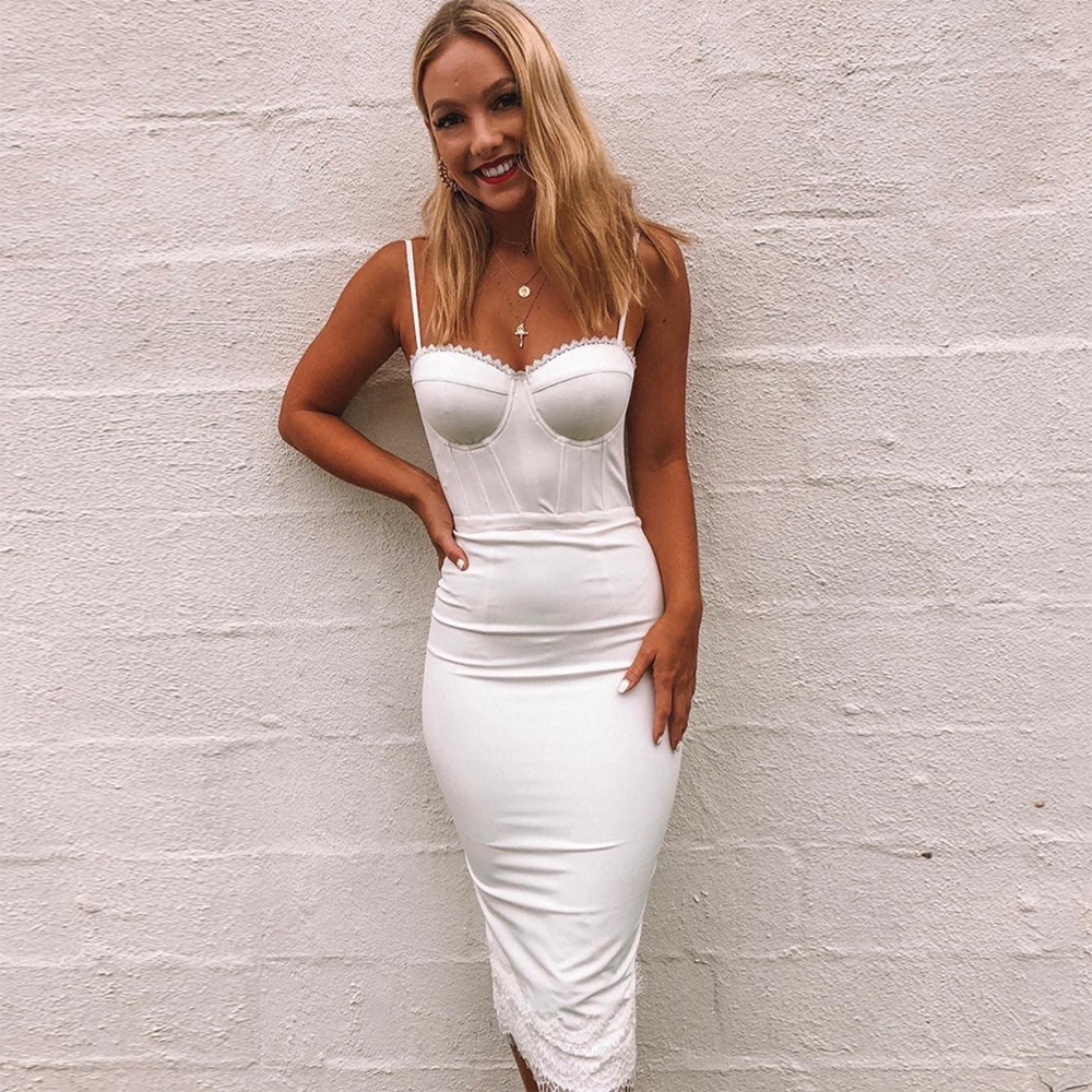 <font><b>Women</b></font> <font><b>Sexy</b></font> <font><b>White</b></font> Sleeveless <font><b>Fashion</b></font> Spaghetti Strap Bandgae <font><b>Dress</b></font> <font><b>2018</b></font> <font><b>Sexy</b></font> <font><b>Backless</b></font> <font><b>New</b></font> Lace Vestidso Celebrity Party Festa image
