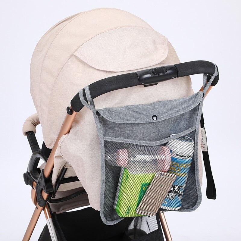 Baby Stroller Mesh Bag Portable Bottle Diaper Pram Storage Hanging Organizer Pushchair Bottom Bag Infant Stroller Accessories