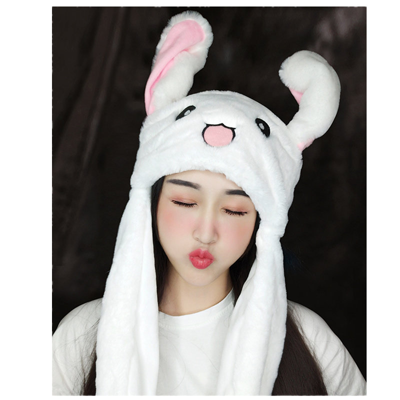 Kids Cartoon Hats Moving Ears Cute Rabbit Toy Hat Airbag Kawaii Funny Toy Hat For Girls Cap Kids Plush Toy For Children's Toy
