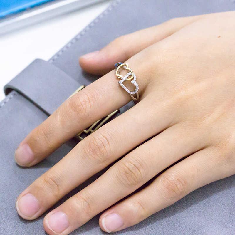 แฟชั่นผู้หญิง Simple Love แหวนรูปหัวใจ Micro - ชุดเครื่องประดับ Rhinestone หมั้นแหวนขนาด 6-10