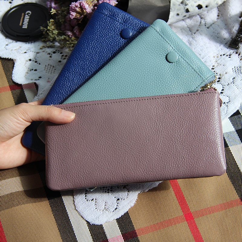 New Korean multi-function genuine cow leather womens long wallet large capacity coin purse with phone pocket for girls
