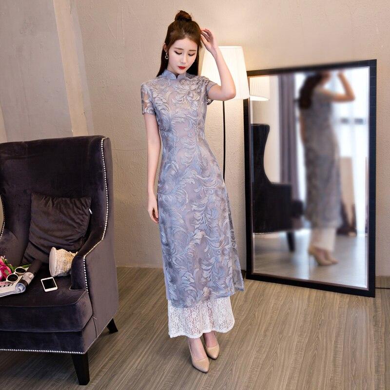 Shanghai Story Folk Style Wide Leg Pants Suit Two Pieces Vietnam Chiffon Aodai Graceful Stand Collar Elegant Long Cheongsam