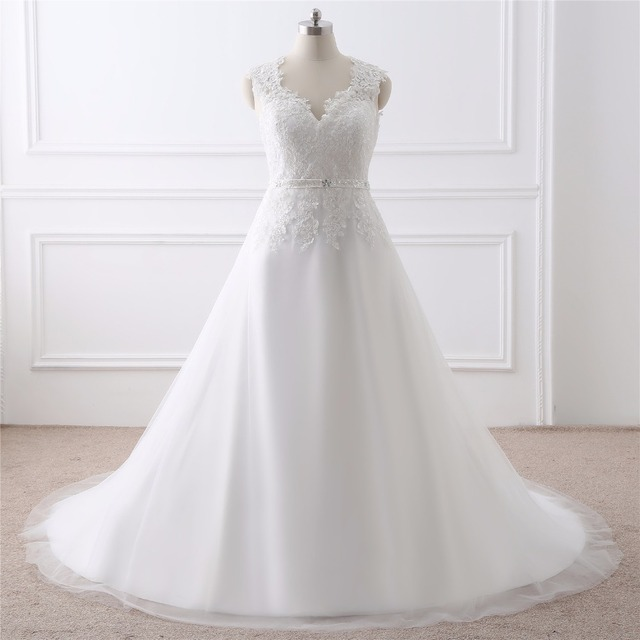 46c100dcb8 Aliexpress.com : Buy Real Photo Modest V neck Plus Size Wedding Dresses  Cheap 2018 Vestidos De Noiva Max Size Bridal Gowns For Fat Bridal from ...