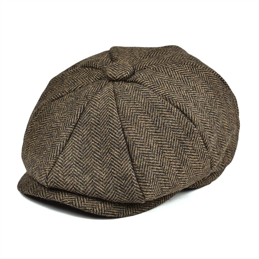 JANGOUL Boys Newsboy Caps Small Size Kids Woollen Tweed Flat Cap Khaki Herringbone Girl Infant Toddler Child Youth Beret Hat 001