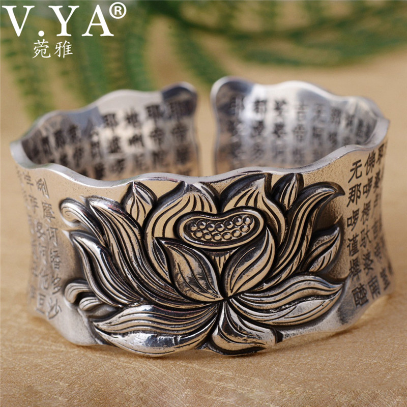 V YA Solid 925 Sterling Silver Bangle for Women Buddhism Incantations of the Great Mercy Lotus