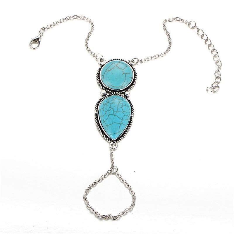Wholesale New Arrival Tibetan Ethnic Boho Blue Stone Silver Chain Link Bracelet
