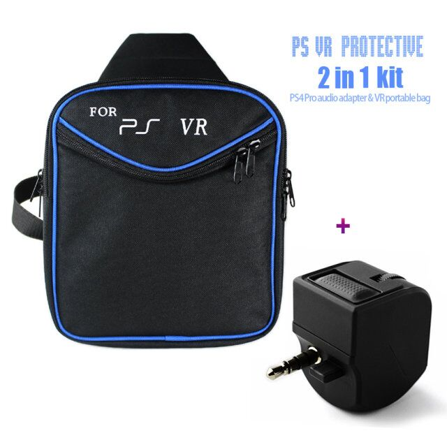 Game Accessories PS4 & PS4 Slim/ Pro Travel Carry Shoulder Bag For PS4 VR + PS4 VR handle headset adapter with volume control