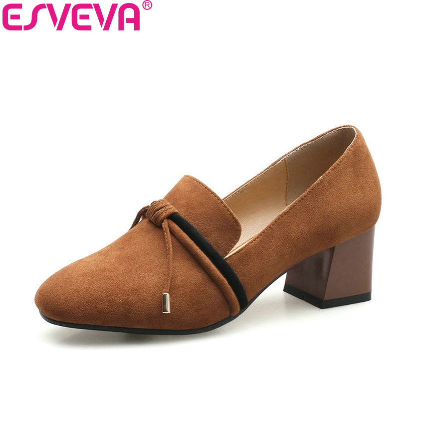 ESVEVA 2018 Women Pumps Shoes Mixed Color Sweet Style Square High Heels Square Toe Slip on Appointment Ladies Shoes Size 34-40 2017 shoes women med heels tassel slip on women pumps solid round toe high quality loafers preppy style lady casual shoes 17